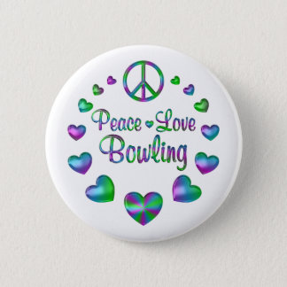 Peace Love Bowling 2 Inch Round Button