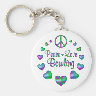 Peace Love Bowling Basic Round Button Keychain