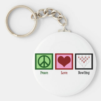 Peace Love Bowling Keychain