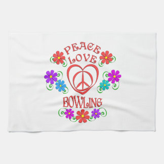 Peace Love Bowling Kitchen Towel