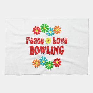 Peace Love Bowling Kitchen Towel