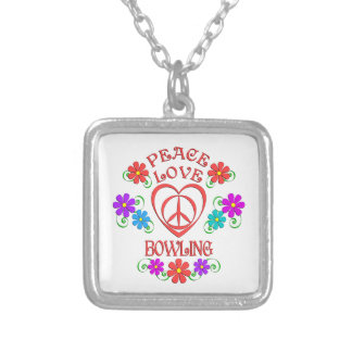 Peace Love Bowling Silver Plated Necklace
