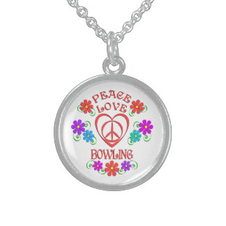 Peace Love Bowling Sterling Silver Necklace