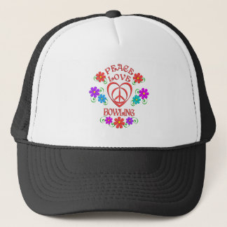 Peace Love Bowling Trucker Hat