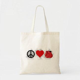 Peace Love Box Emblem Tote Bag