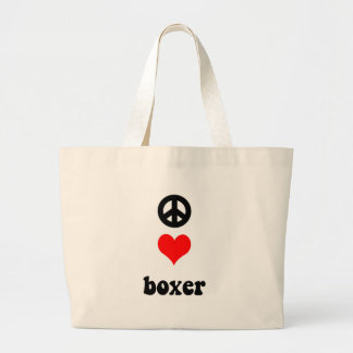 Peace love Boxer Large Tote Bag