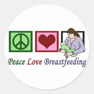 Peace Love Breastfeeding Round Sticker