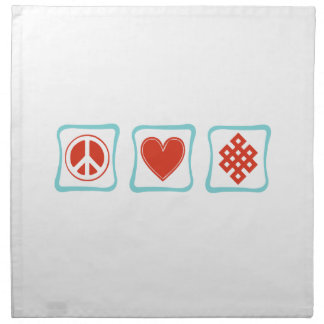 Peace Love Buddhism Squares Napkin