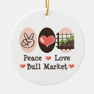 Peace Love Bull Market Ornament