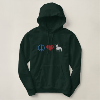 Peace, Love, Bull Terriers Embroidered Hoodie