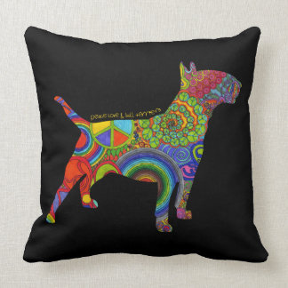 """Peace Love & Bull Terriers"" Pop Art Pillow"
