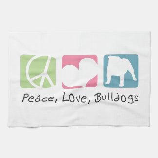 Peace Love Bulldogs Kitchen Towel