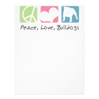 Peace Love Bulldogs Customized Letterhead