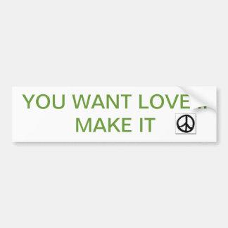 PEACE LOVE BUMPER STICKER