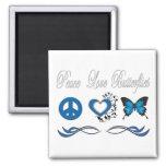 Peace Love Butterflies Fridge Magnets