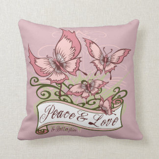 Peace Love & Butterflies Graphic Girls Hoodie Throw Pillow
