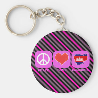 Peace Love Cambodia Basic Round Button Keychain