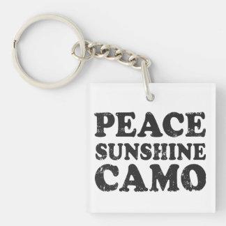 Peace Love Camo Single-Sided Square Acrylic Keychain