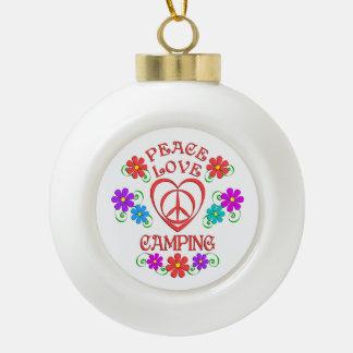 Peace Love Camping Ceramic Ball Christmas Ornament