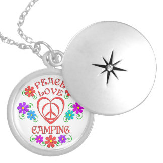 Peace Love Camping Silver Plated Necklace