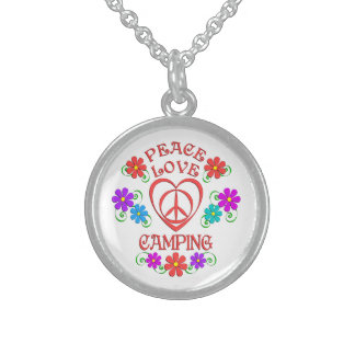 Peace Love Camping Sterling Silver Necklace