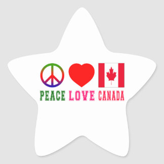 Peace Love Canada Star Stickers