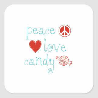 Peace Love Candy Square Sticker