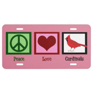 Peace Love Cardinals License Plate