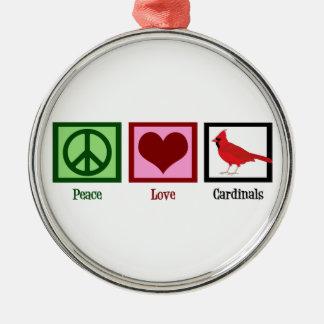 Peace Love Cardinals Metal Ornament