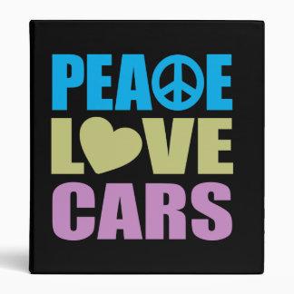 Peace Love Cars 3 Ring Binder