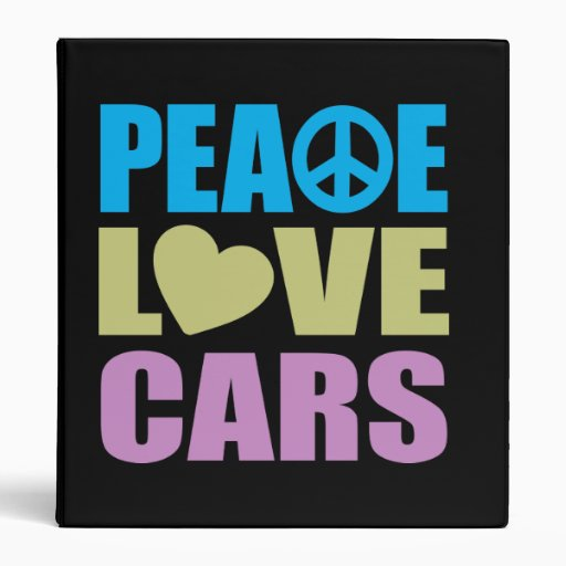 Peace Love Cars 3 Ring Binder