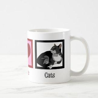 Peace Love Cats Cute Coffee Mug
