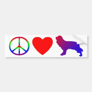 Peace Love Cavalier King Charles Spaniels Bumper Sticker
