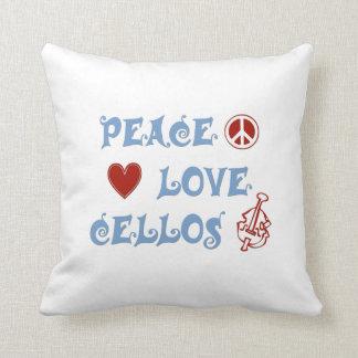 Peace Love Cellos Throw Pillow