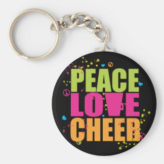 Peace Love Cheer- Black Keychain