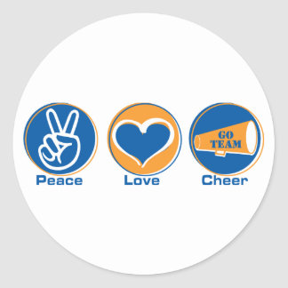 Peace Love Cheer Blue/Orange Classic Round Sticker