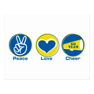 Peace Love Cheer Blue/Yellow Postcards