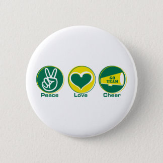 Peace Love Cheer Green/Yellow 2 Inch Round Button