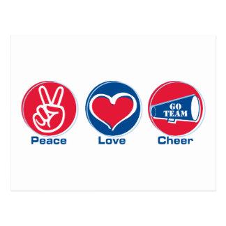 Peace Love Cheer Red/Blue Postcard