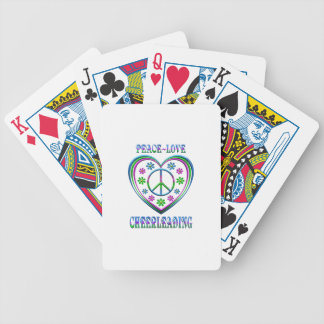 Peace Love Cheerleading Bicycle Playing Cards