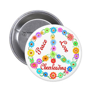 Peace Love Cheerleading Buttons