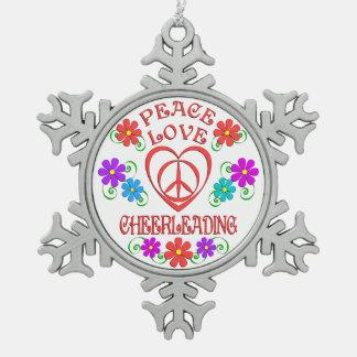 Peace Love Cheerleading Snowflake Pewter Christmas Ornament