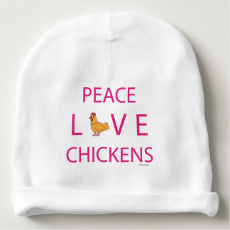 Peace Love Chickens Infant Beanie Baby Beanie