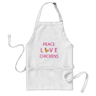 Peace Love Chickens Standard Apron