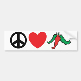 Peace Love Chile Peppers Bumper Sticker