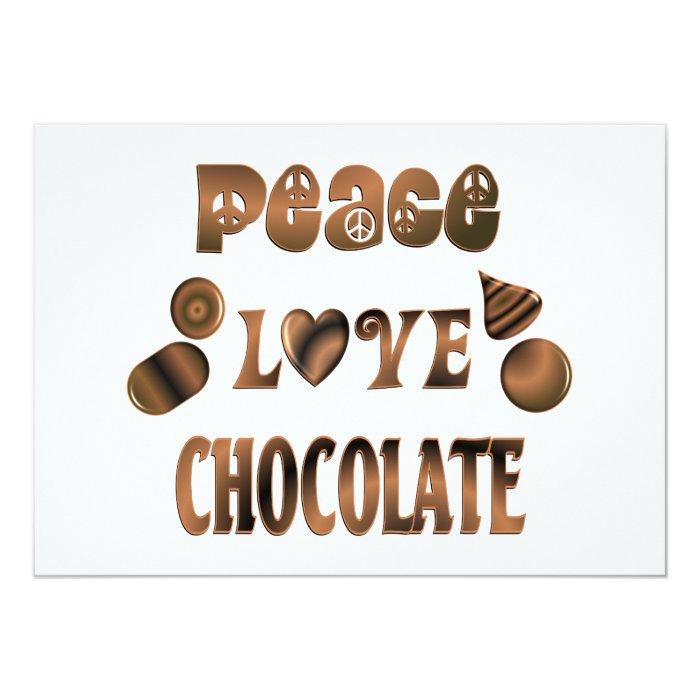 "Peace Love Chocolate 5"" X 7"" Invitation Card"