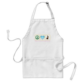 Peace Love Chocolate Bunnies Standard Apron
