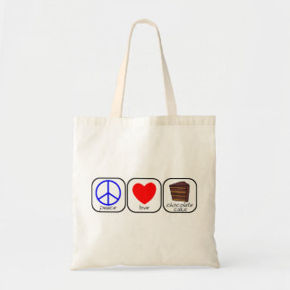 Peace, Love & Chocolate Cake Tote Bag