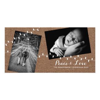 Peace - Love Christmas Strewn Photos Burlap Lights Customized Photo Card