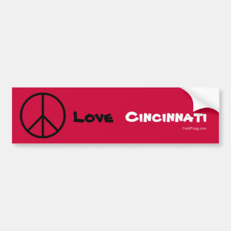 Peace Love Cincinnati Custom Bumper Sticker (Red)